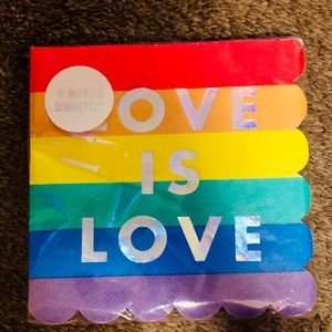 "NWT Meri Meri ""Love is Love"" Rainbow Napkins 16"